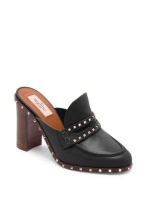 Valentino High Heel Shoes Rockstud Leather Sandal With Heel And Metal Studs In Black