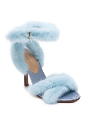 3c815ed4b1e6 Valentino 95Mm Mink Fur Ankle-Wrap Sandal In Blue