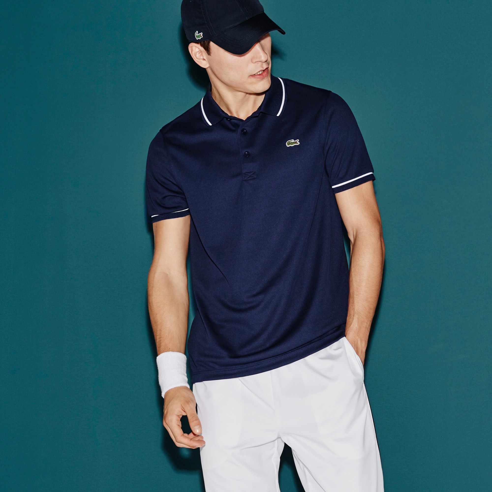 1df0801bd Lacoste Men's Sport Ultra-Dry Piping Tennis Polo Shirt - Navy Blue/White