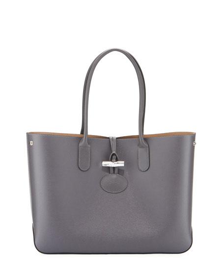 Roseau Reversible Leather Tote Bag, Gray