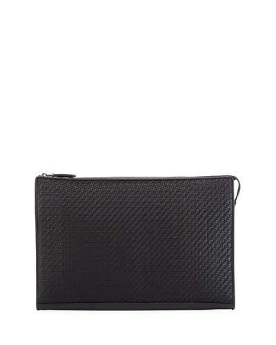 Ermenegildo Zegna Pelle Tessuta Leather Portfolio In Black