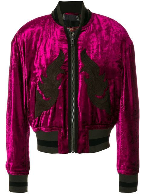 3c61c6344 Chenille Bomber Jacket W/ Patches in Pink