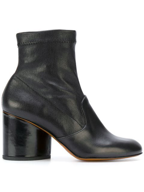 Robert Clergerie Women's Koss Leather Block Heel Booties In Black