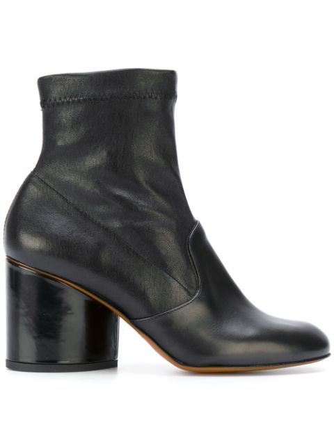 Robert Clergerie Stretch Tear Leather Booties In Black