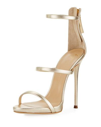 b4cca6e503c Giuseppe Zanotti Three-Strap Patent Leather Sandal In Gold Metallic Ltr