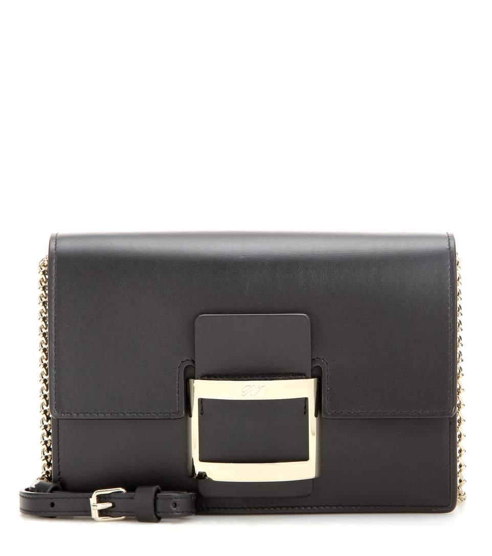 Roger Vivier Viv' Icon Micro Leather Shoulder Bag In Black