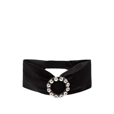 6040ee2e16a6 Miu Miu Swarovski Crystal-Embellished Satin Headband In Black