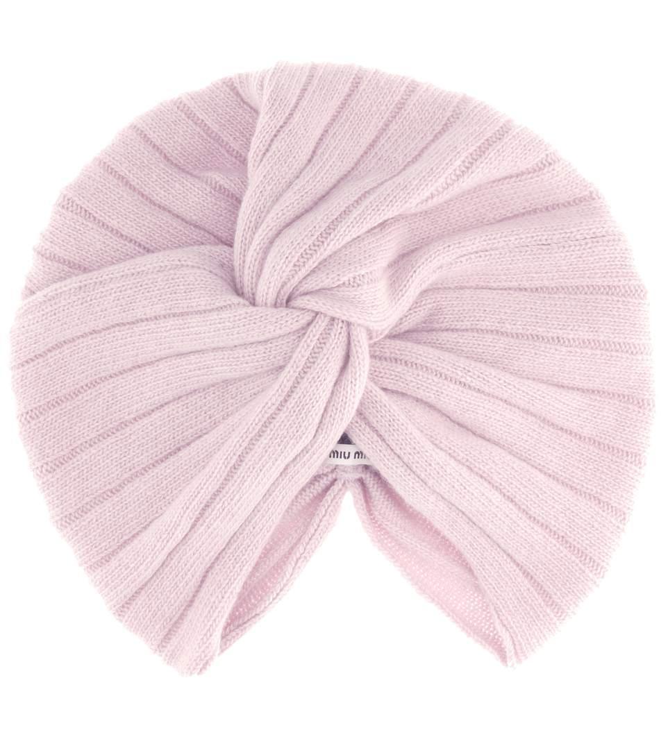 2d8c82206f4 Miu Miu Ribbed Wool And Cashmere-Blend Turban In Cipria