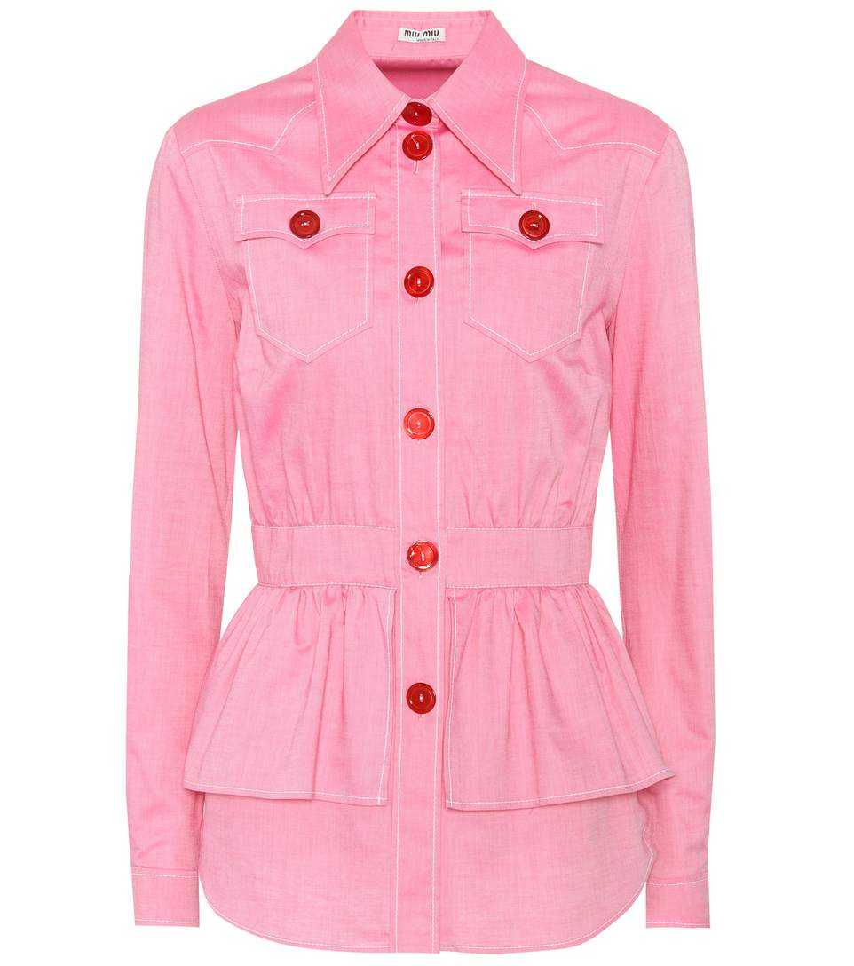 Miu Miu Cotton Top In Pink