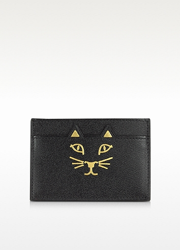 Charlotte Olympia 'feline' Cat Face Leather Card Holder In Black