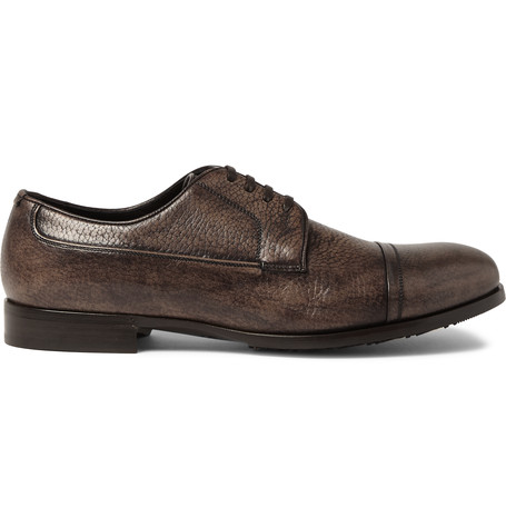 Dolce & Gabbana Burnished Grained-leather Derby Shoes In Marrone Scuro|marrone