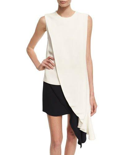 Calvin Klein Collection Draped Sable High-Low Top In White