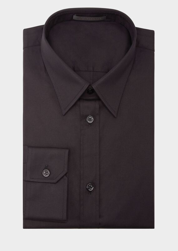 Versace Slim Fit Cotton Shirt In Black
