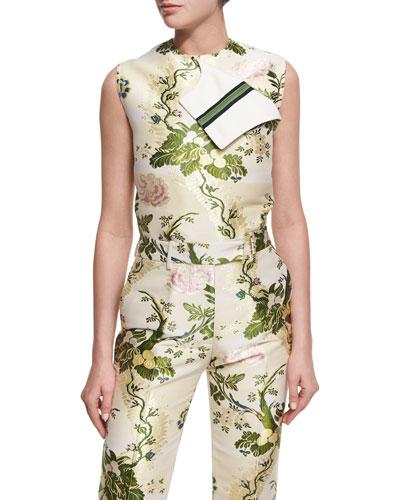 Calvin Klein Collection Flora Brocade Shell Top In Green Pattern