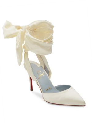 12e178a9ae02 Christian Louboutin Douce Du Desert 100 Satin Ankle-Wrap Pumps In Off White