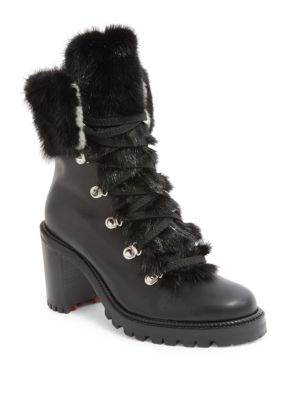 86586e47605 Fanny Leather Fur-Trim Red Sole Combat Boot in Version Black