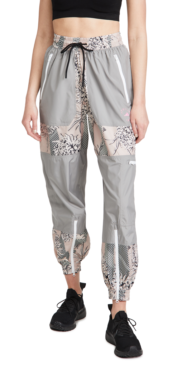 Adidas By Stella Mccartney Floral-print Panelled Track Pants In Grey
