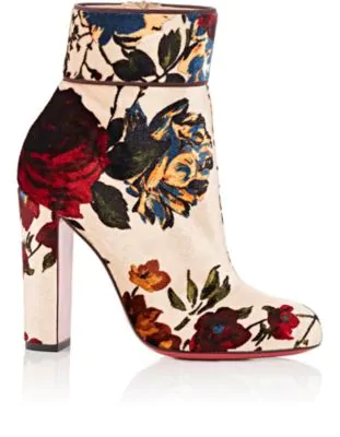 f58d992290e Moulamax 85 Bouquet-Print Velvet Block Heel Booties in Beige