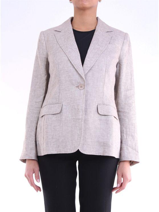 Lorena Antoniazzi Women's P2028ga0063208sabbia Beige Linen Blazer In Neutral