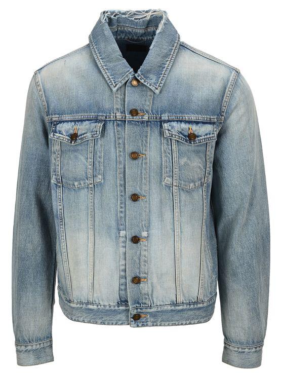 Saint Laurent Denin Jacket In Sky Blue