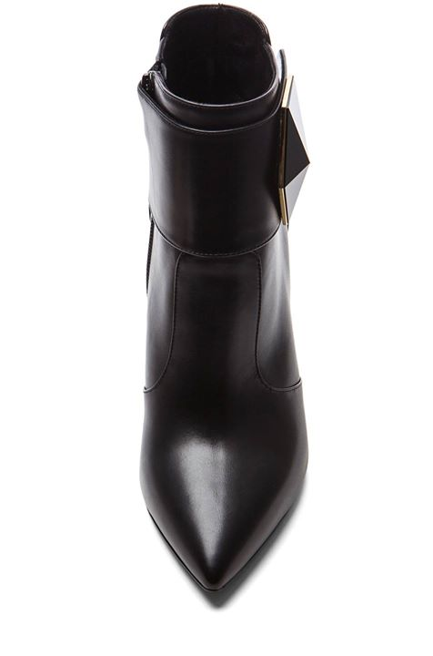 Nicholas Kirkwood Geometric Leather Ankle Boots In Black
