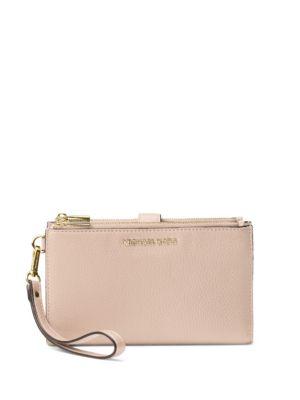 7c1076406c098d Michael Michael Kors Adele Double Zip Leather Iphone 7 Plus Wristlet In Soft  Pink