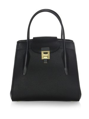 Michael Kors Large Bancroft Leather Top Handle Satchel - Black