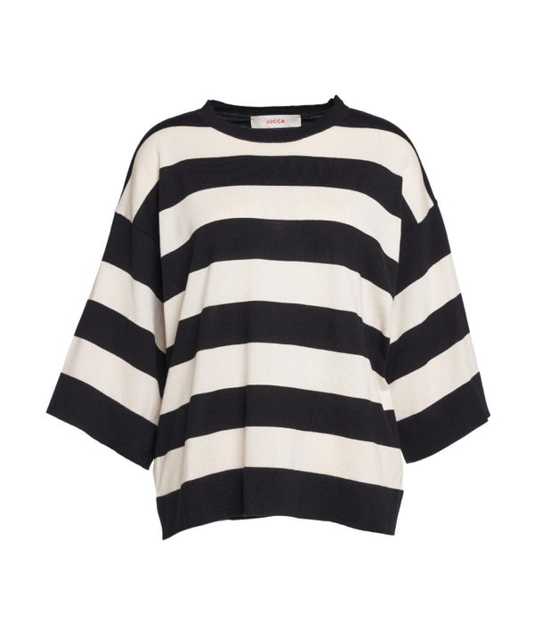 Jucca Light Sweater With Horizontal Stripes In Black