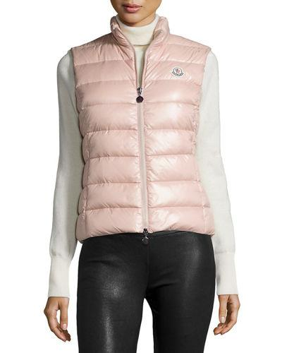 58ae75764 Ghany Shiny Quilted Puffer Vest, Light Pink