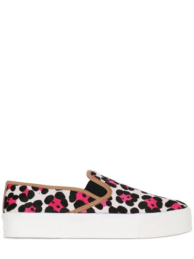 Carvela Kurt Geiger 30mm Printed Ponyskin Slip-on Sneakers In White/pink