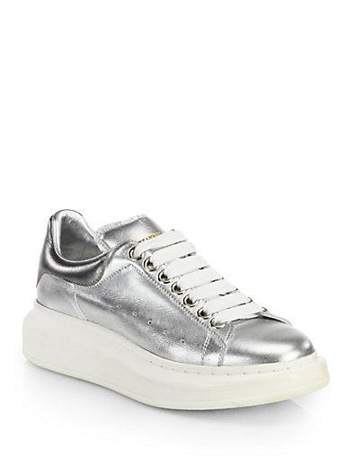 Alexander Mcqueen Metallic Leather Platform Sneakers In Silver
