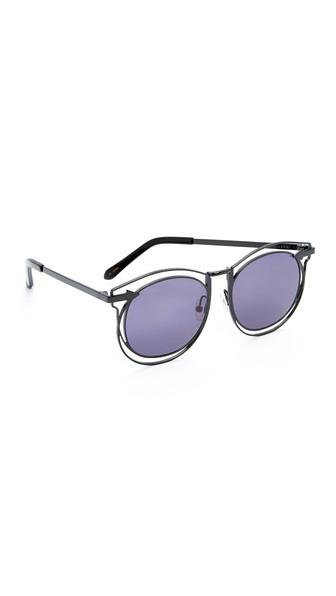 3d279a9898e26 Karen Walker Superstars Simone Round Monochromatic Sunglasses In  Black Smoke Mono