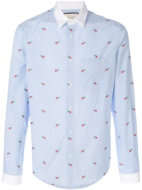 15a5e5390bc Gucci Pierced Heart Fil CoupÉ Duke Shirt In Blue