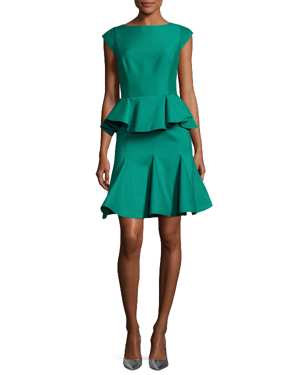 Halston Heritage Cap-Sleeve Structured Tiered Flounce Cocktail Dress, Cerise In Emerald