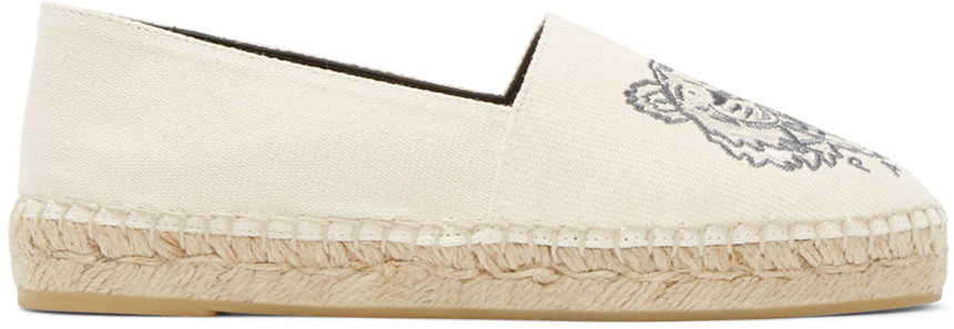 Kenzo Tiger-embroidered Canvas Espadrilles In Neutrals