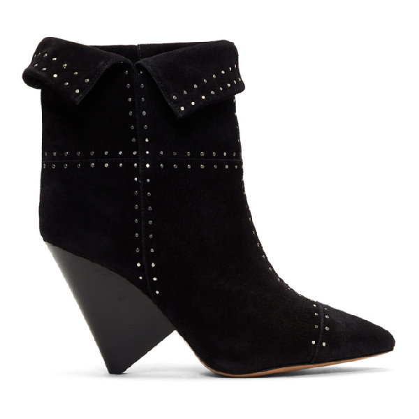 Isabel Marant 90Mm Lizynn Studded Suede Ankle Boots In Black