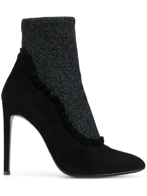 Giuseppe Zanotti 110Mm Ruffled Suede & Lurex Ankle Boots In Black