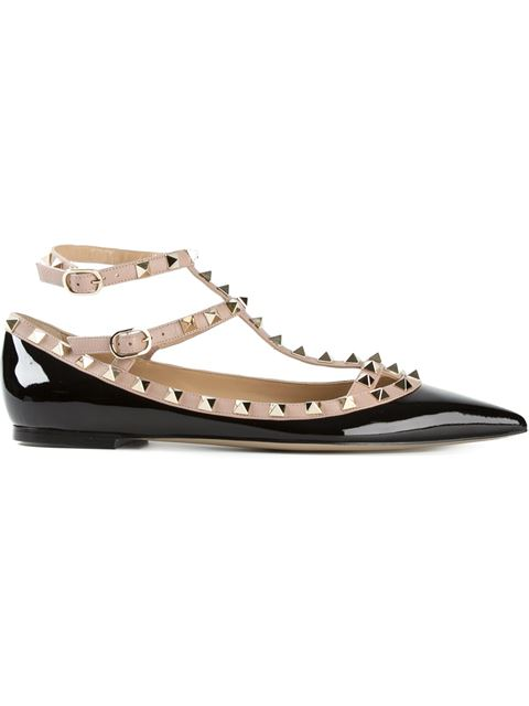 Valentino 'Rockstud' Ballerinas In Black