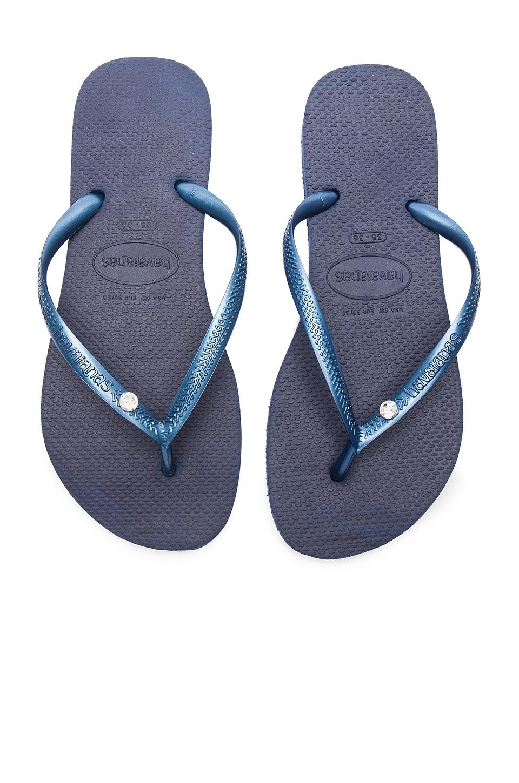 c0ef99307 Havaianas  Slim Crystal Glamour  Flip Flop In Navy Blue