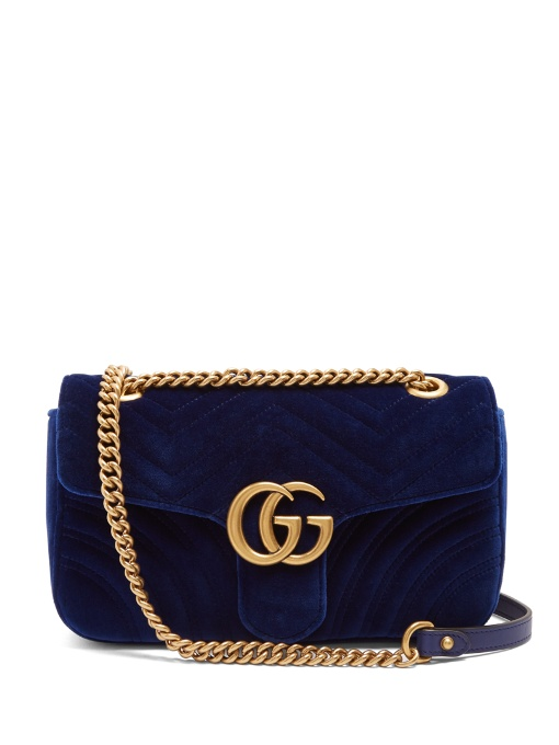 3867e171253c Gucci Gg Marmont Small Quilted-Velvet Cross-Body Bag In Royal-Blue ...