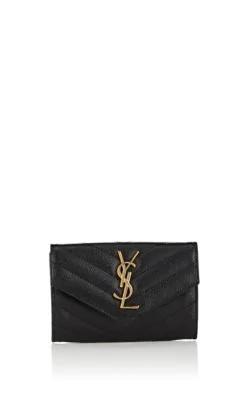 Saint Laurent Monogramme Small Grain De Poudre Envelope Wallet In Black