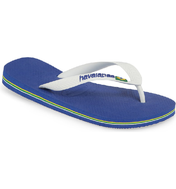 80f101c2b Havaianas Men's Brazil Logo Flip Flop Sandals Men's Shoes In Navy Blue