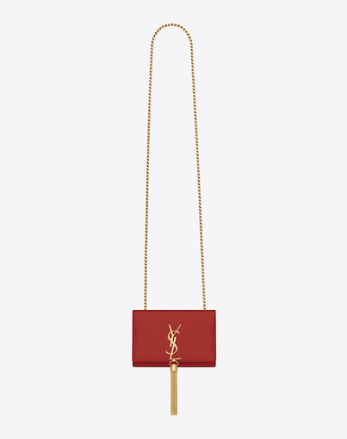 Saint Laurent Classic Small Kate Tassel Satchel In Lipstick Red Leather