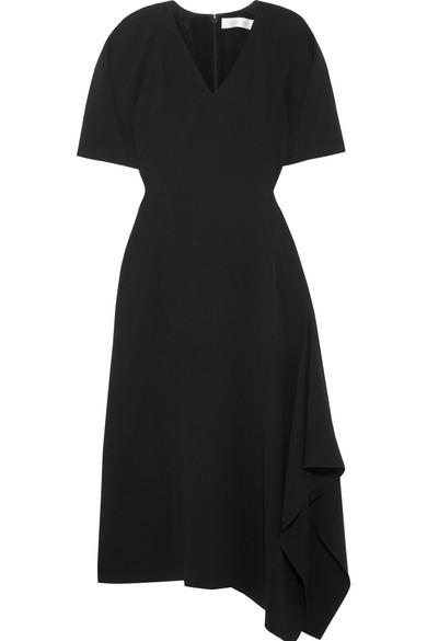 Victoria Beckham Asymmetric Crepe Midi Dress In Black