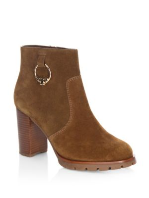 5021a2254c87da Tory Burch Sofia Lug Sole Leather Mid-Heel Booties In Brown