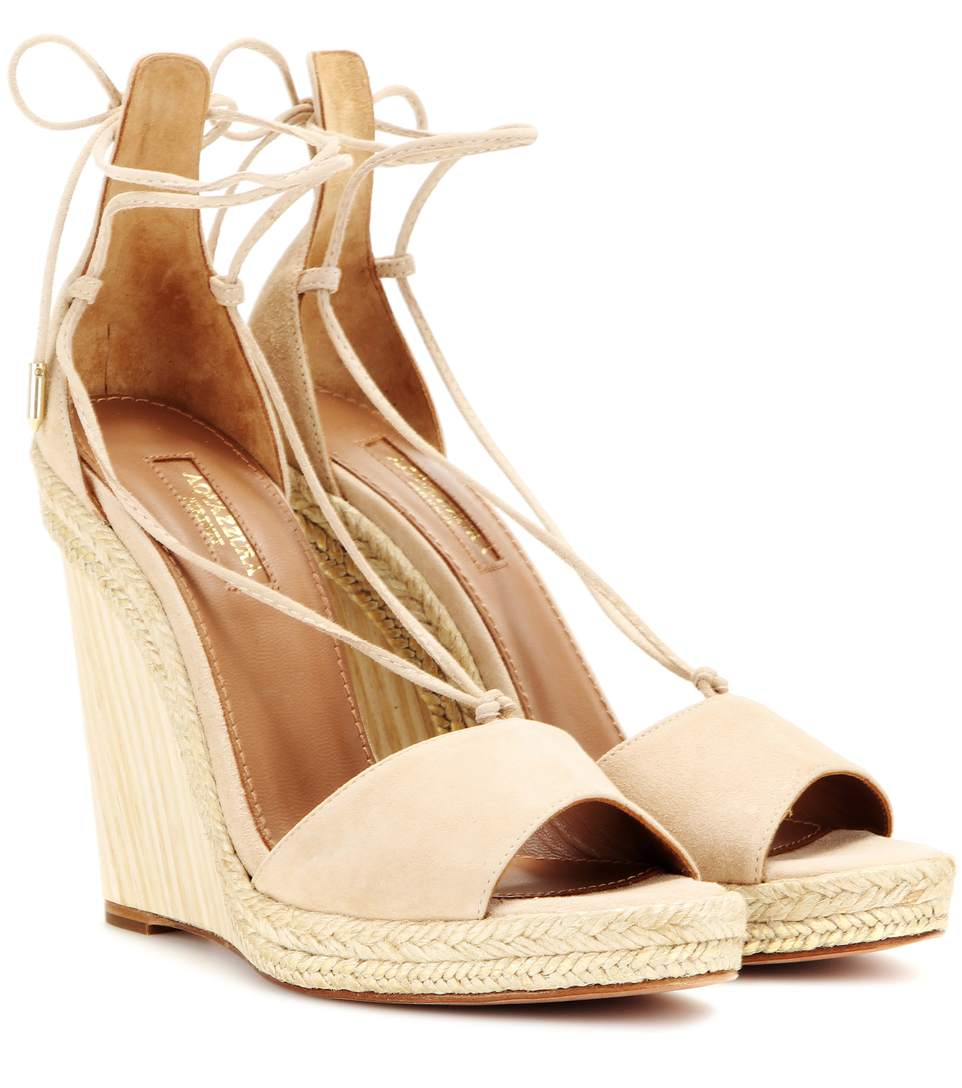 5229a8bc528 Aquazzura Alexa Suede Wedge Espadrille Sandals In Nude