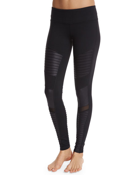 f4dd1587cb526 Alo Yoga Moto Full-Length Sport Leggings, Black In Black/ Black Glossy