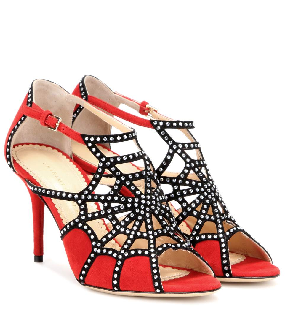 Charlotte Olympia Woman Lotte Embellished Suede Sandals Red