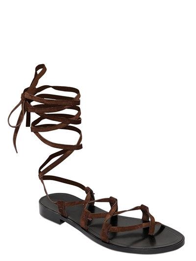 Saint Laurent Nu Pieds Lace-up Suede Sandals In Brown