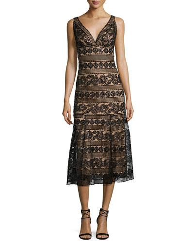 Sleeveless Sequined Lace Midi Cocktail Dress Blacknatural In Black Nude